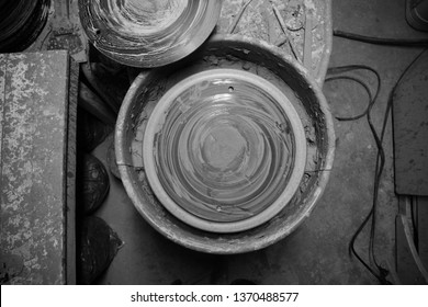 Potter's wheel after throwing.