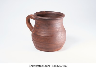 Pottery Craft, ceramic product with your own hands, made on a Potter's wheel, isolated on a white background, clay.