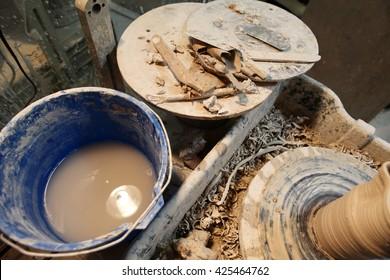 Pottery equipment.