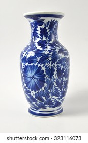 pottery floral pattern in blue and white