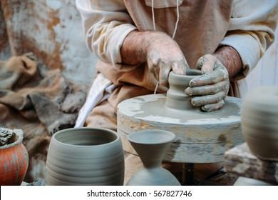 Pottery at medieval festival in Italy. Umbria, Bevagna, Mercato delle Gaite