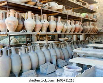 Pottery and Other Artifacts Escavated from the Ruins of Pompeii