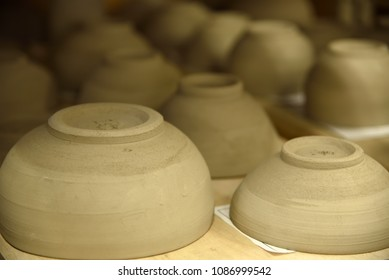 Pottery workshop, drying process at the end of molding before unglazed, Japan