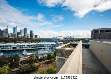 Potts Point, Sydney, NSW, Australia -September 03, 2018: Sydney Skyline and Woolloomoollo Bay Rooftop View from a building in Potts Point on a beautiful sunny morning.