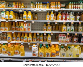 Pottstown, PA - March 12, 2020: Giant Grocery Store Sells a Lot of Orange Juice During Coronavirus / Covid-19 Health Scare and Panic Buying