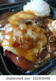 Potuguese sausage Loco Moco, a non traditional variant of a traditional Hawaiian dish.