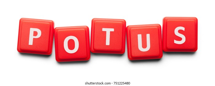 Potus Spelled with Wood Tiles Isolated on a White Background.