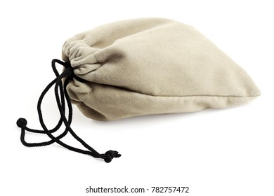 Pouch Bag With Drawstring Lying on White Background