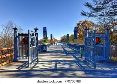 Poughkeepsie, New York - November 24 2017: Entrance to the Walkway over the Hudson in Poughkeepsie, New York.