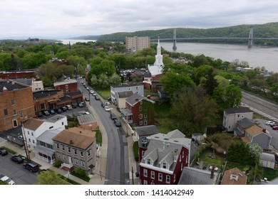 Poughkeepsie, NY - May 4 2019: Cityscape view of Poughkeepsie and the Hudson River from Walkway over the Hudson