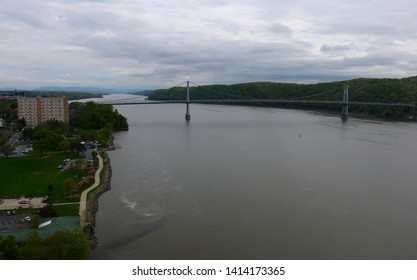 Poughkeepsie, NY - May 4 2019: The Mid-Hudson Bridge and Victor Waryas Park viewed from the Walkway over the Hudson