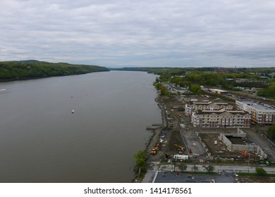 Poughkeepsie, NY - May 4 2019: View of the Hudson River looking north from Walkway over the Hudson