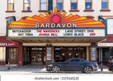 Poughkeepsie, NY / United States - Nov. 29, 2019: a closeup of the marquee of the historic Bardavon 1869 Opera House