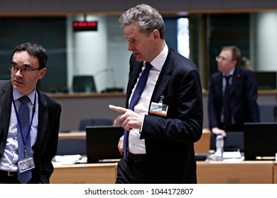 Poul Mathias Thomsen,director of the IMF's European Department attends an Eurogroup meeting at the EU headquarters in Brussels, Belgium on March 12, 2018.