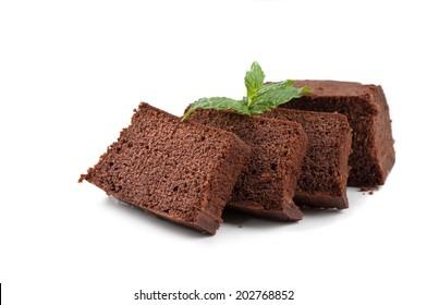pound cake on white background