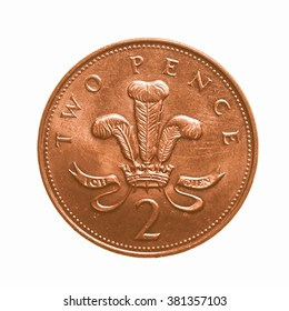 Pound coin - 2 pence currency of the United Kingdom isolated over white background vintage