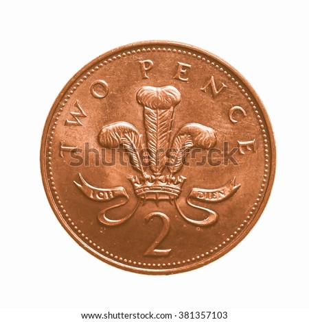 Pound Coin 2 Pence Currency United Stock Photo Edit Now 381357103