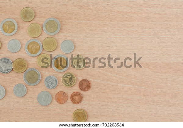 Pound coins from bank. Financial and Business concept.