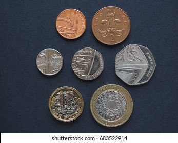 Pound coins money (GBP), currency of United Kingdom - full series includind one penny, two five ten twenty and fifty pence, one and two pounds