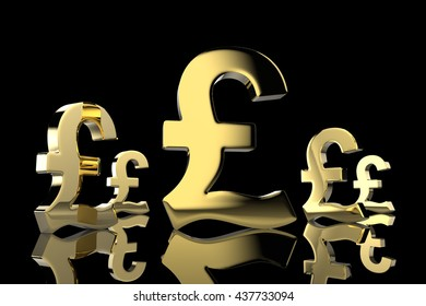 Pound Currency in Gold 3D Rendering