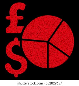 Pound and Dollar Pie Chart grainy textured icon for overlay watermark stamps. Flat symbol with unclean texture. Dotted glyph red ink rubber seal stamp with grunge design on a black background.