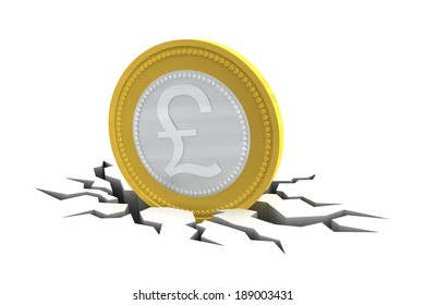 Pound Sterling Coin on cracked ground isolated on white background