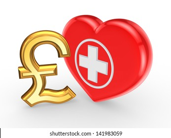 Pound sterling sign and symbol of medicine.Isolated on white.3d rendered.