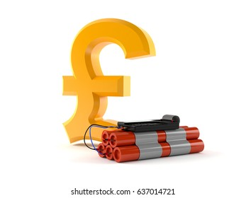 Pound symbol with bomb isolated on white background. 3d illustration