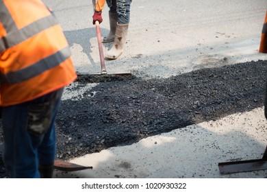 Pour asphalt, ground cover