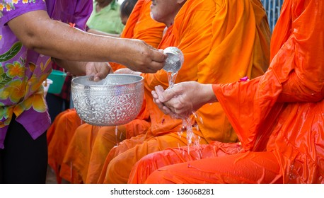 pour water is tradition of ancient Thailand