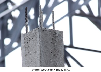 Poured cement with steel poles for construction