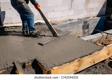 pouring cement onto the terrace