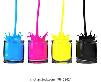 Pouring cmyk paint into glass vessels / CMYK paint / isolated on white