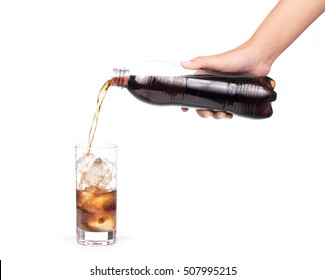 pouring coca cola splash into glass isolated on white background