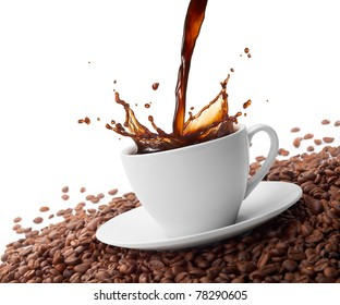 pouring coffee creating splash surrounded by coffee beans