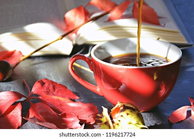 Pouring coffee into a red cup in an Autumn setting - Chestnuts, colorful autumn leaves and a book lie on a black kitchen surface next to a cup - the sun shines through a jalousie with shadows