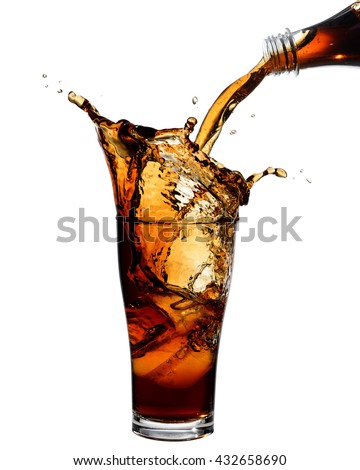 Pouring cola from bottle