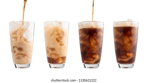 Pouring Cola into glass Isolated white background, clipping path.
