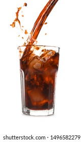 Pouring of cold cola into glass on white background