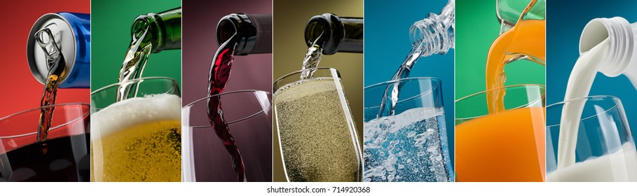 Pouring drinks into glasses photo collection: soft drink can, beer, wine, water, orange juice and milk
