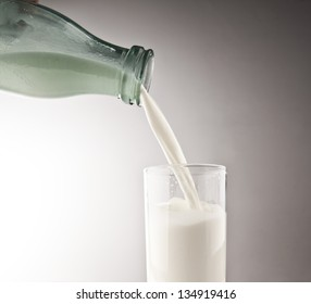 Pouring fresh white milk from bottle into a glass on gray background with gradient
