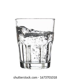 pouring glass water isolated on white background clipping path