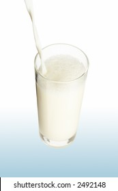 Pouring milk in the glass on the white background