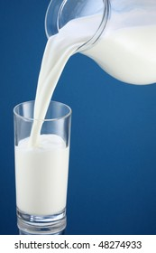 Pouring of milk from jug into a glass