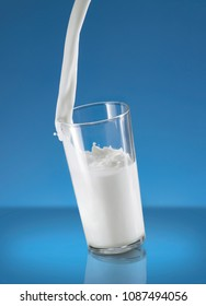 Pouring Milk Splash in A Glass Over Blue Background