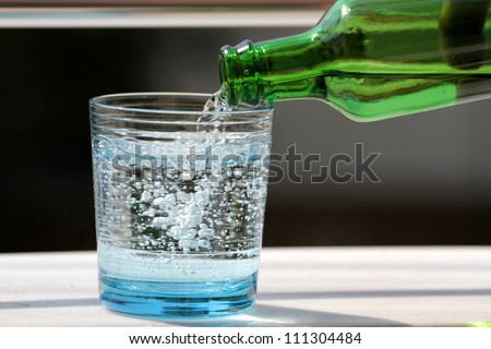Pouring mineral water in the glass