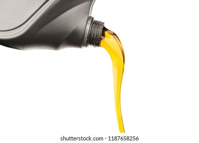 Pouring oil lubricant motor car from gray bottle on isolated white background