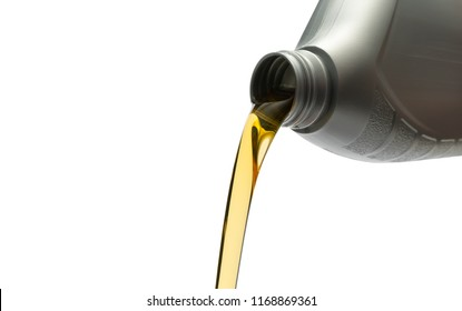 Pouring oil from silver bottle on isolated white background