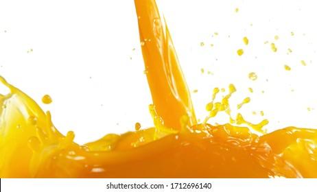 Pouring orange juice splash, isolated on white background