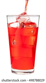 Pouring red fruit punch into pint glass on white